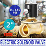 "2"" NPT BRASS ELECTRIC SOLENOID VALVE 5.5"" LEAD WIRE 2"" INCH 22W 100% DUTY CYCLE"