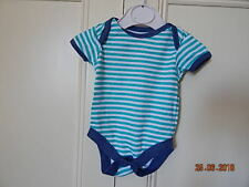 GEORGE BABY BOYS COTTON GREEN WHITE STRIPED PLAYSUIT FIRST SIZE WITH BLUE TRIM