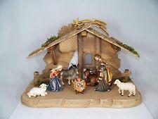 Weihnachtskrippe aus Holz geschnitzt: Stall + 9-teiliges Figuren Set neu. Krippe