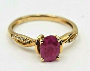 Genuine Ruby & Diamond 1.12ctw 10kt Yellow Gold Ladies Gemstone Ring Sz 7