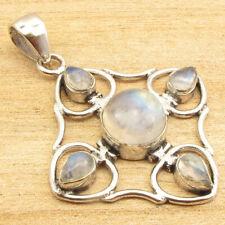 5 Real Rainbow Moonstone, 925 Silver Plated Stylish Pendant 1.9 Inch Handmade
