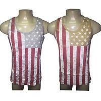 "Men's USA Flag Tank Top T Shirt American Star Sleeveless Tee Cotton ""Ships Free"""