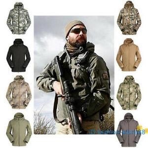 Men Soft Shell SharkSkin Waterproof Tactical Jacket Hoodie Outdoor Coat UK STOCK