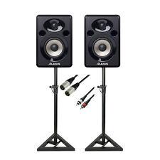 Alesis Elevate 4 Alimenté Ordinateur De Bureau Studio haut-parleurs Paquet + Stands & Câbles