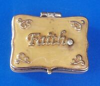 Vintage Gold Tone Pill Box with Faith Message. Magnetic Lock