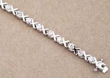 Lady's Women's Rhodium Plated Tennis Bracelet Cubic Zirconia 7.25 inch long OXOX