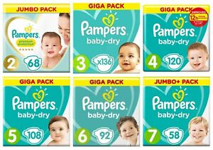 Pampers Baby Dry Nappies Premium Size 0 1 2 3 4 4+ 5 5+ 6 7 8 Mega Giga Pack