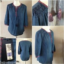 ladies casual top m&s collection size 8 denim look brand new