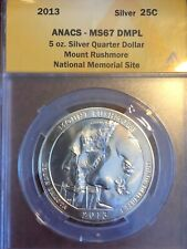 2013 MOUNT RUSHMORE 5 OZ .999 SILVER QUARTER ANACS MS67 DMPL VERY HIGH GRADE