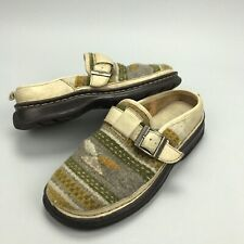 BORN Women Size 8 / 39 Wool Leather Aztec Indian Slip On Flat Slide Clog Mules