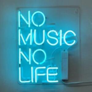 "14""x9""No Music No Life Neon Sign Light Man Cave Room Wall Decor Art Nightlight"