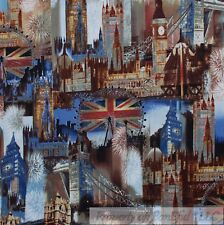 BonEful Fabric FQ Cotton Quilt Old World International London Flag City Scapes L