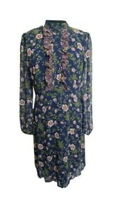 M&S Dress Size 12 Blue Pink Floral Midi Wedding Workwear Evening Party