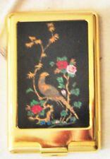 Vintage Compact Colibri Japan Make Up Brush Set Purse Mirror Brass