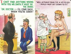 3 cards BAMFORTH Black Triangle Friendly Funnies Doctor / Nude / Drink / Risque