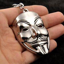 Women Men Silver V for Vendetta Mask Metal Keychain Cosplay Skull Keyring Punk