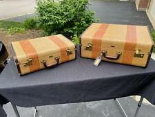 Vintage Dresner Tweed Leather Suitcase Luggage Travel Case Empire Dres Robe