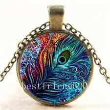 Vintage Peacock Feather Photo Cabochon Glass Bronze Chain Pendant Necklace