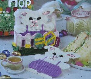 Bunny Hop Easter Coaster Set PLASTIC CANVAS PATTERN