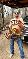 Vintage Cabin Round Fish Now Work Later Sign W/ Fish Graphic Man Cave Decor 27in