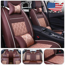 Universal PU Leather 5-Seat Car SUV Mesh Seat Cover Front+Rear W/Pillows Coffee