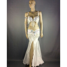 belly dance costume wear stage performance 5piece White dancing skirt dress set
