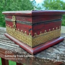 Vintage Indian Wooden Handmade Brass Embellished  - Trinket Box - Jewelry Box