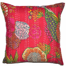 24x24 Red Pillow Cover Decorative Kantha throw Pillow kantha cushion Cover