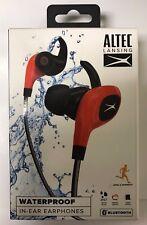 BRAND NEW SEALED ALTEC LANSING WATERPROOF BLUETOOTH IN-EAR RED EARPHONES