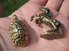 Set 2  Turtle Horse Buddhist Blessing Amulet Statue Pendant A2547