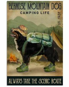 Camping Life Scenic Route Bernese Mountain Dog Vertical Poster