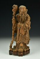 Wooden Chinese Shou Lao Statue Figure on Stand