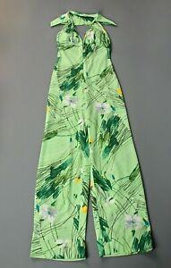 VTG Women's 70s Polyester Green Floral Halter Jumpsuit Sz S 1970s Bell Bottoms