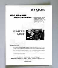 Argus C33 Parts List with Exploded Views Reprint: camera, lenses, viewfinder