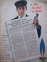 PUBLICITÉ 1958 GAZ DE FRANCE TRANSPORT DU GAZ À GRANDE DISTANCE  - ADVERTISING