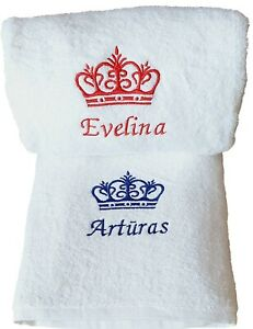 Name with Crown Personalised Embroidered towels  Gift Christmas Birthday present