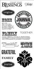 FISKARS Simple Stick BE THANKFUL Rubber Cling Stamps JOURNAL FAMILY HOME BLESS