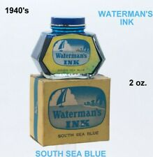 Vintage 1940's WATERMAN'S No. 472 South Sea Blue 2 oz Ink Bottle in Box