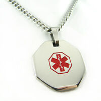 MyIDDr - Womens LEUKEMIA Steel Medical Alert ID Necklace, PRE-ENGRAVED