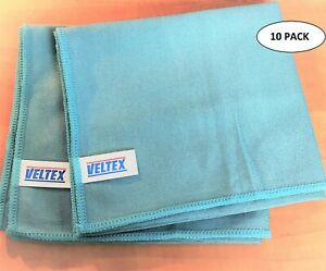Microfibre Glass Cloth Blue Cleaning Mirror Polishing 40x40cm VELTEX ~ 10 PACK