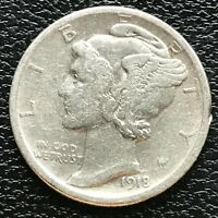 USA 1918 D Mercury Dime Denver 10 Cent Silber Selten Sehr Gute Erhaltung #13419