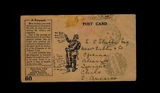 """FIELD POST OFFICE 28"" illustrated Tobacco Fund to Chile w/ ""IQUIQUE RECEPTION"""