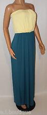 VICKY MARTIN strapless lemon turquoise maxi dress summer wedding BNWT 10 12