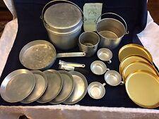 Retro Mirro Aluminum Camping Cookware Nesting Cookware 22 Piece Set