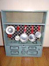Ancien jouet cuisinière en bois enfant miniature meuble cuisine années 30