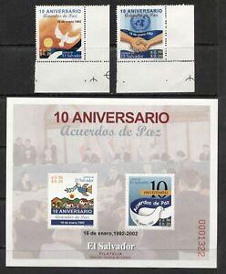 EL SALVADOR 2002, PEACE ACCORDS - 10TH ANNIVERSARY, Scott 1558-1560, MNH