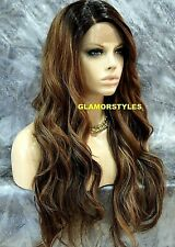 Human Hair Blend Lace Front Full Wig Long Wavy Ombre Golden Brown Mix #SOM7002