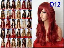 Red Wig Women Fashion Wig Long Curly Cheap Costume Natural Ladies Hair Wig D12