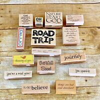 15 Wooden Rubber Stamp Lot Words Phrases Letters Oh Snap Hello Road Trip Believe