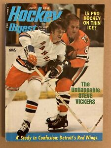 1974 Hockey Digest NEW YORK Rangers STEVE VICKERS NewsStand No Label UNFLAPPABLE